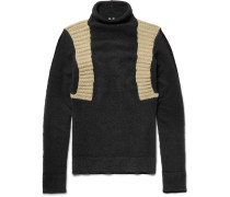 Panelled Wool-blend Mock Neck Sweater