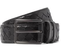 3cm Black Intrecciato Leather Belt