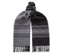Weston Fringed Intarsia Wool and Cashmere-Blend Scarf
