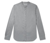 Gaspard Grandad-Collar Garment-Dyed Tencel Shirt