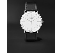 Max Bill Automatic 38mm Stainless Steel and Leather Watch, Ref. No. 027/3501.00