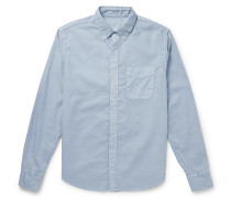 Slim-Fit Garment-Dyed Button-Down Collar Cotton Oxford Shirt