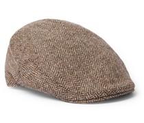 Herringbone Wool-Tweed Flat Cap