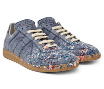 Replica Paint-splattered Nubuck Sneakers