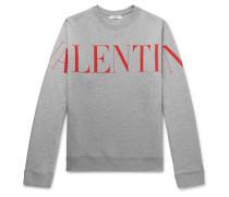Logo-Print Mélange Loopback Cotton-Blend Jersey Sweatshirt