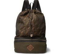 Convertible Leather and Suede-Trimmed Shell and Canvas Backpack