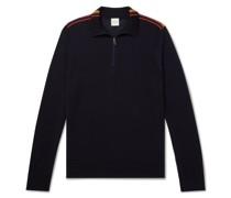 Slim-Fit Striped Merino Wool Half-Zip Sweater