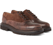 Suede-trimmed Distressed Leather Oxford Shoes