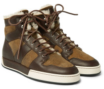Blayne Panelled Leather And Shearling High-top Sneakers