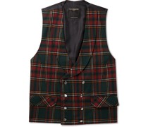 Dunrobin Slim-Fit Double-Breasted Prince of Wales Checked Wool-Blend Waistcoat