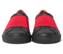 Elasticated-strap Leather Sneakers