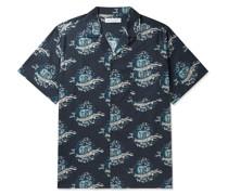 Eros Camp-Collar Printed Cotton Pyjama Shirt