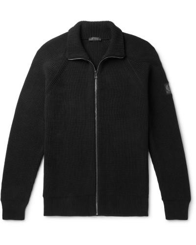 Slim-fit Ribbed Cotton Zip-up Cardigan - Black