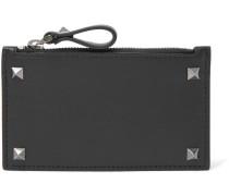 Rockstud Leather Zipped Cardholder