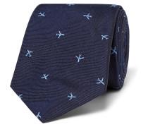 6.5cm Embroidered Silk-faille Tie