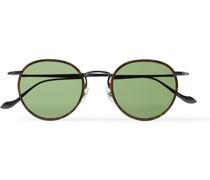 Round-Frame Tortoiseshell Acetate and Gunmetal-Tone Sunglasses