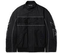 Oversized Logo-Appliquéd Piped Padded Tech-Cotton Bomber Jacket