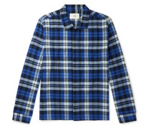 Patch Checked Brushed Cotton-Flannel Shirt