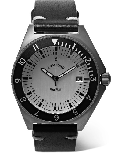 Mayfair Brushed Stainless Steel and Leather Watch