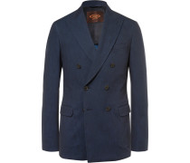 Blue Slim-fit Double-breasted Denim Blazer