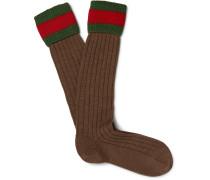 Striped Stretch Wool-blend Socks