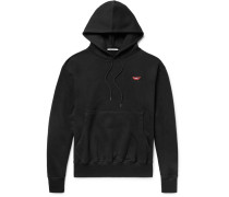 Embroidered And Printed Fleece-back Cotton-jersey Hoodie