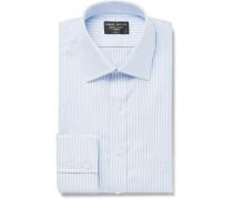 Sky-Blue Slim-Fit Pinstriped Cotton Oxford Shirt