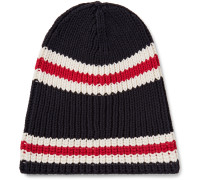 Striped Ribbed Cotton Beanie