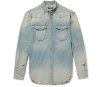 Slim-fit Grandad-collar Distressed Denim Shirt