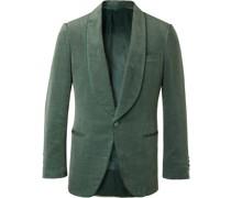 Slim-Fit Cotton and Linen-Blend Velvet Tuxedo Jacket