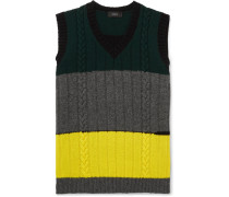 Slim-fit Colour-block Cable-knit Wool Sweater Vest