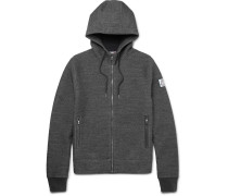 Elbow-patch Mélange Cotton-blend Zip-up Hoodie