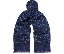 Printed Cashmere And Wool-blend Twill Scarf