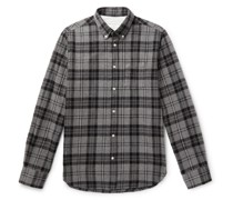 Antime Button-Down Collar Checked Brushed-Cotton Shirt