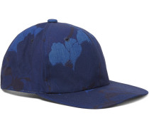 Indigo-dyed Floral-print Cotton-canvas Baseball Cap
