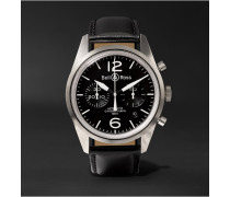 Br 126 Automatic Chronograph 41mm Steel And Leather Watch