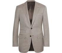 Light-brown Slim-fit Herringbone Slub Wool, Silk And Linen-blend Blazer