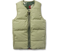 Reversible Quilted Cotton-blend Flannel Down Gilet