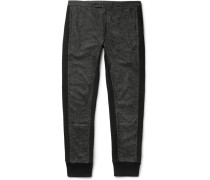 Tapered Contrast-trimmed Cotton-blend Trousers