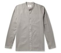 Grandad-Collar Pigment-Dyed Cotton Shirt