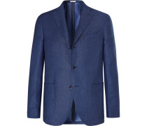 Blue Slim-fit Herringbone Linen And Cashmere-blend Blazer - Blue