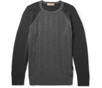 Slim-fit Two-tone Cable-knit Cashmere Sweater