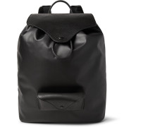 Leather-trimmed Coated-canvas Backpack