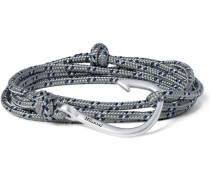 Cord And Silver-plated Hook Wrap Bracelet
