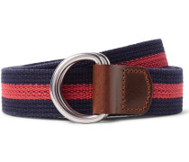 3cm Burnished Leather-trimmed Striped Cotton Belt