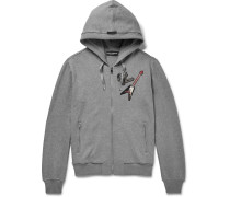 Appliquéd Cotton-jersey Zip-up Hoodie