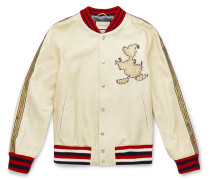 + Disney Embroidered Textured-leather Bomber Jacket