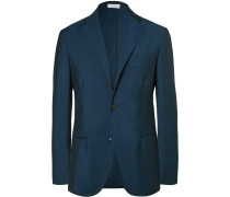 Blue Slim-fit Wool And Mohair-blend Blazer