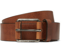 3.5cm Brown Selesio Burnished-leather Belt