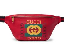 Webbing-trimmed Printed Full-grain Leather Belt Bag
